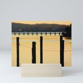 Piers at sunset on Severn River, MD | Minimalist landscape photography Mini Art Print