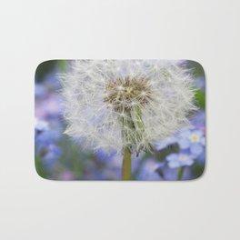 Dandelion in blue and purple Flowers Bath Mat