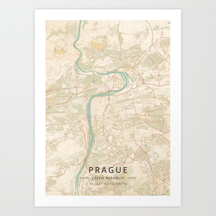 Prague, Czech Republic - Vintage Map Kunstdrucke