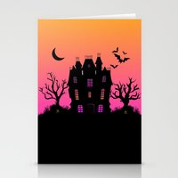 haunted mansion Stationery Cards featuring Haunted Silhouette Rainbow Mansion by rainbowdreams