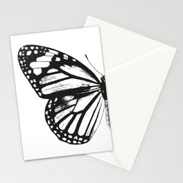 Monarch Butterfly | Left Butterfly Wing | Vintage Butterflies | Black and White | Stationery Cards
