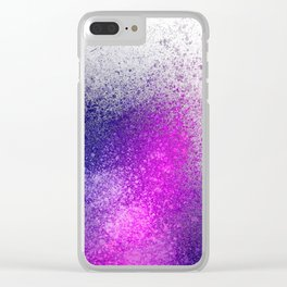 Hot Pink and Purple Paint Splatter Clear iPhone Case