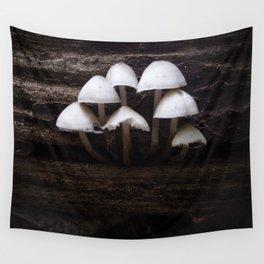 Mushrooms On a Log Wall Tapestry