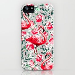 Flamingos and Flowers iPhone Case