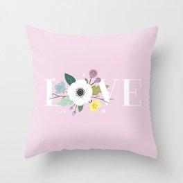 Floral Love - Mauve Throw Pillow