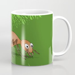 Ant smiling in tall green grass Coffee Mug