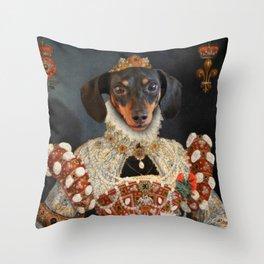 Queen Dixie - Dachshund Art Throw Pillow