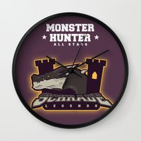 monster hunter Wall Clocks featuring Monster Hunter All Stars - Schrade Legends by Bleached ink
