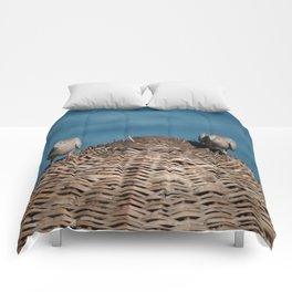 A Pair Of Doves On A Woven Sun Parasol Comforters