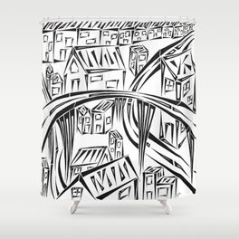 Town Circled By Roads Shower Curtain