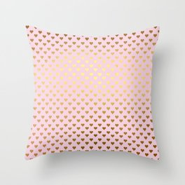 Princesslike - pink and gold elegant heart ornament pattern Throw Pillow