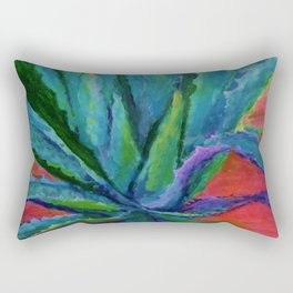 WESTERN DESERT BLUE AGAVE CACTUS in  RED-TEAL Rectangular Pillow