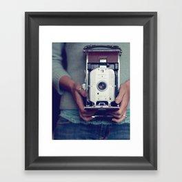 her camera Framed Art Print