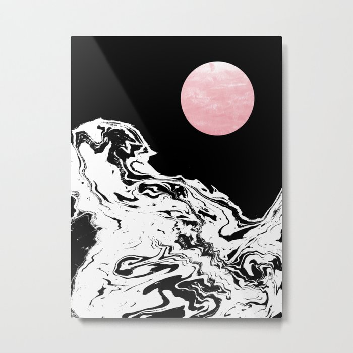 Downing - ocean sunset eclipse stars planets galaxy space abstract art swirl waves surf pink black  Metal Print