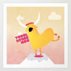 Yappy the Yodelling Yoga Yak Art Print