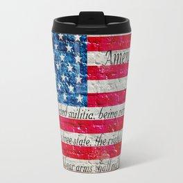 Distressed American Flag And Second Amendment On White Bricks Wall Travel Mug