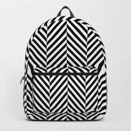 Classic Black & White Herringbone Pattern Backpack