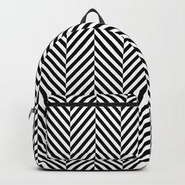 Classic Black & White Herringbone Pattern Backpack