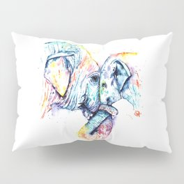 Elephant Mom and Baby Painting - Colorful Watercolor Painting by Whitehouse Art Pillow Sham