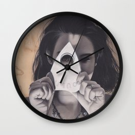 Realism Drawing of Beautiful Woman with Ouija Planchette Piece Wall Clock