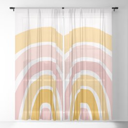 Abstract Shapes 94 in Mustard Yellow and Pale Pink (Rainbow Abstraction) Sheer Curtain