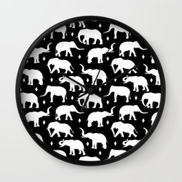 White Elephants Wall Clock