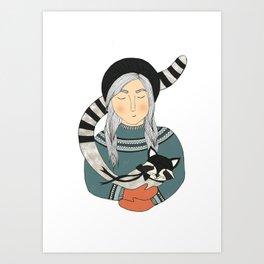 Girl and Raccoon. Art Print