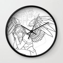Morigan: Snow Angel Line Art Wall Clock