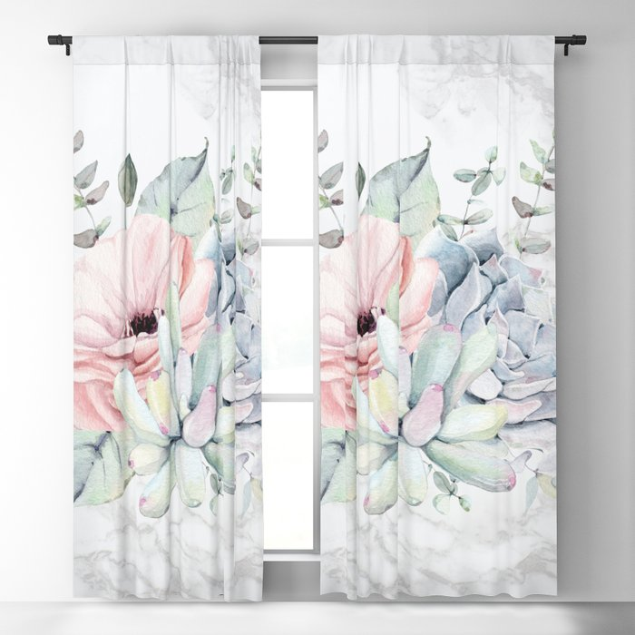 Pretty Succulents on Marble by Nature Magick Blackout Curtain