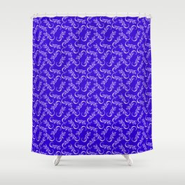 Beautiful delicate distressed artistic little lizards. Elegant classy blue stylish lizard pattern Shower Curtain