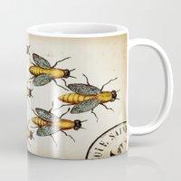 medieval Mugs featuring Medieval Swarm by Vintage Avenue