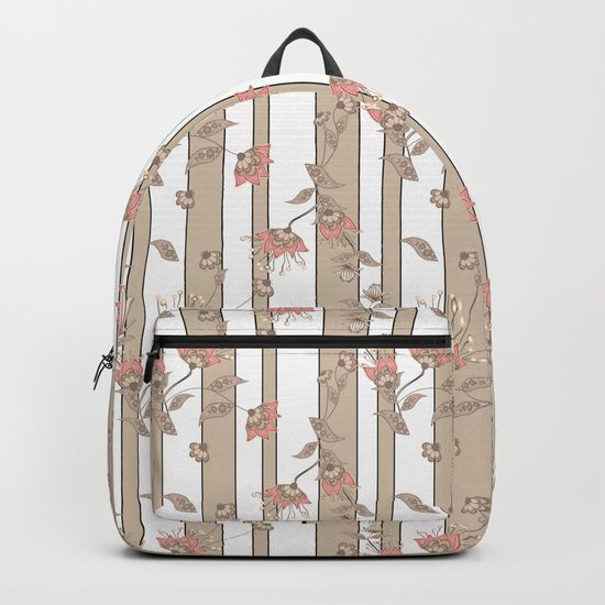 Retro . Floral pattern on a beige striped background . Backpack