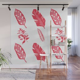 Red Autumn Leaves & Plants  Wall Mural