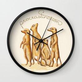 Procrastinating Meerkat Wall Clock