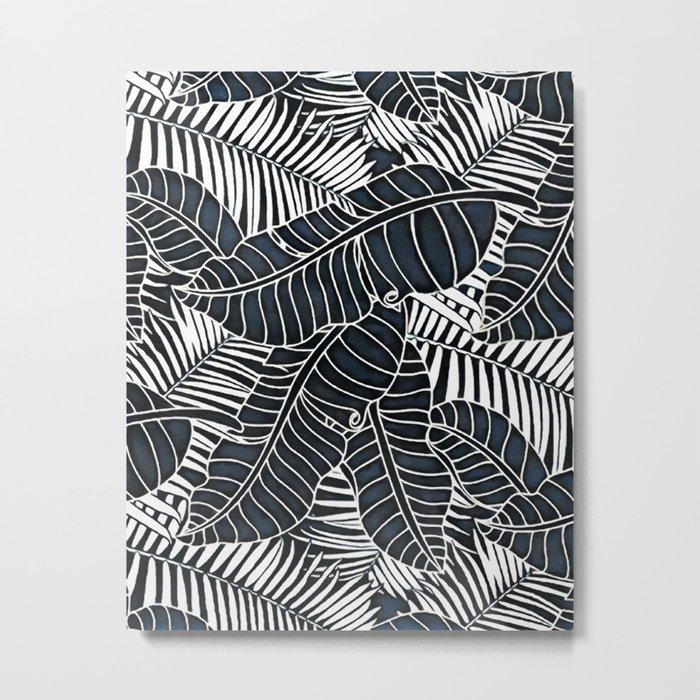 Banana and palm leaves graphics Metal Print
