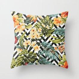 Flowered Chevron Throw Pillow