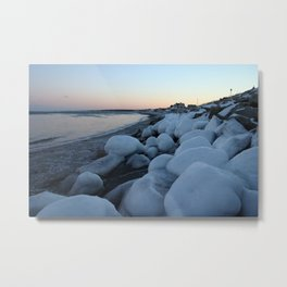 Snowballs on the Beach Metal Print