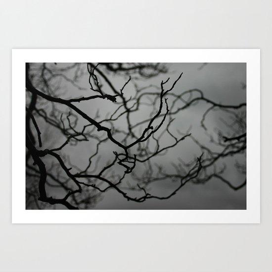 Spooky Halloween, Winter, Black and White Art Print