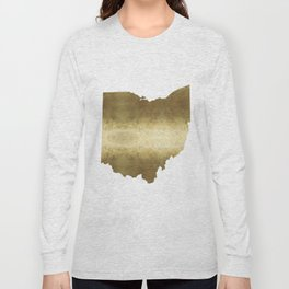 ohio gold foil state map Long Sleeve T-shirt