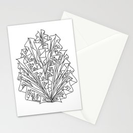 flame line art - white Stationery Cards