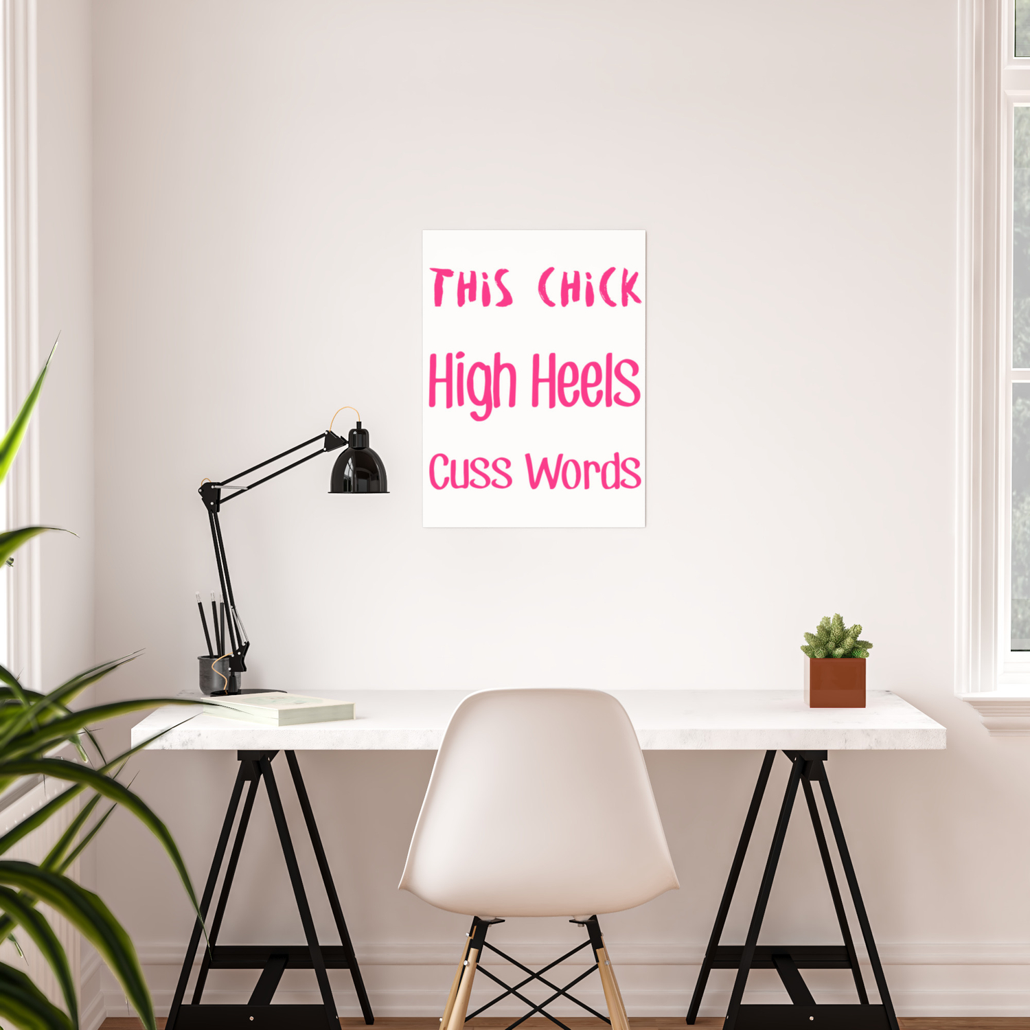This Chick Runs On High Heels And Cuss Words Poster By Passionloft Society6