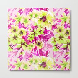 Floral Print Tropical Lime Metal Print