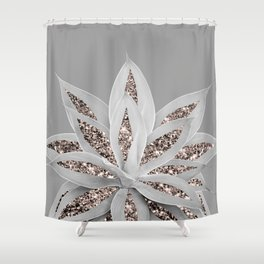 Gray Agave with Rose Gold Glitter #1 #shiny #tropical #decor #art #society6 Shower Curtain