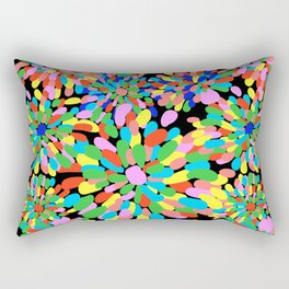 Rainbow Pom Pom Mums in Black Rectangular Pillow