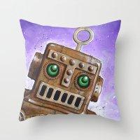 steam punk Throw Pillows featuring i.Friend: Steam Punk Robot by CHRIS MASON