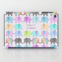 equality iPad Cases featuring Equality Elephants by Jessica Latham
