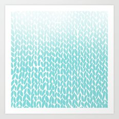 Hand Knitted Ombre Teal Art Print