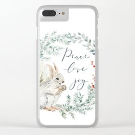 Squirrel. Christmas wreath Clear iPhone Case