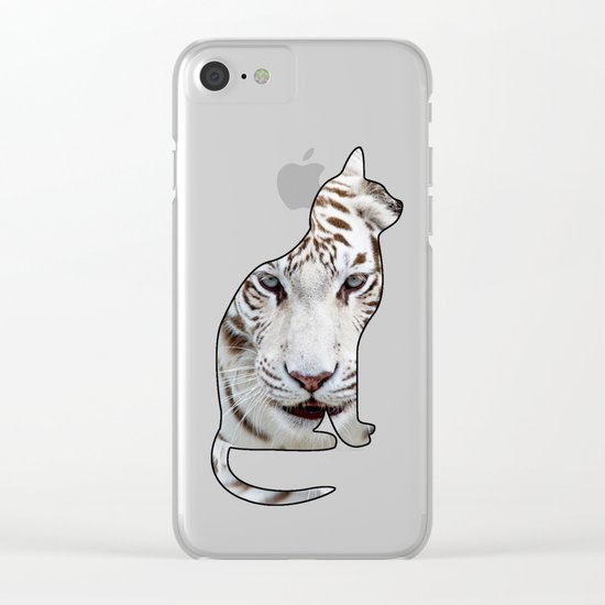 White cats. Clear iPhone Case