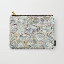 Pale Bright Mint and Sage Art Deco Marbling Carry-All Pouch